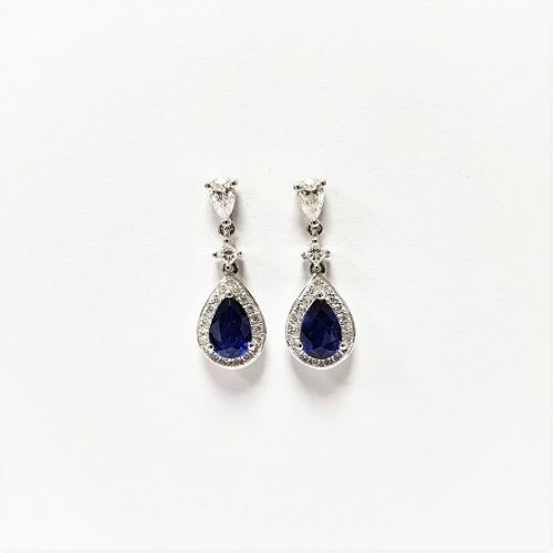 Cuttings Jewellers and Pawnbrokers, womens luxury silver droplet earrings with blue sapphire and diamonds