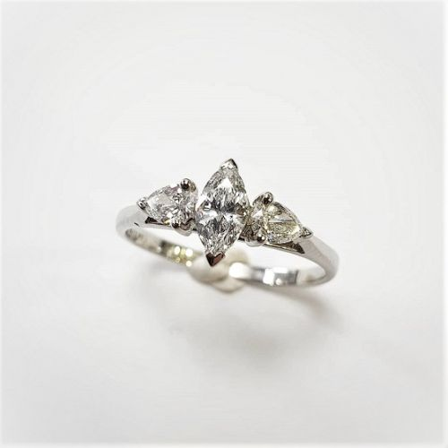 Cuttings Jewellers and Pawnbrokers, womens luxury silver engagement ring with three diamonds