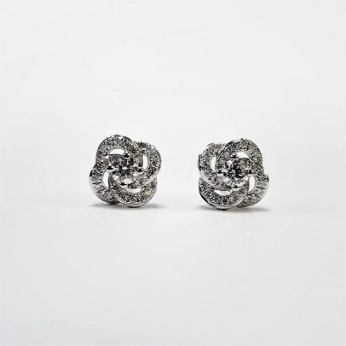 Cuttings Jewellers and Pawnbrokers, womens luxury silver twisted diamond earrings