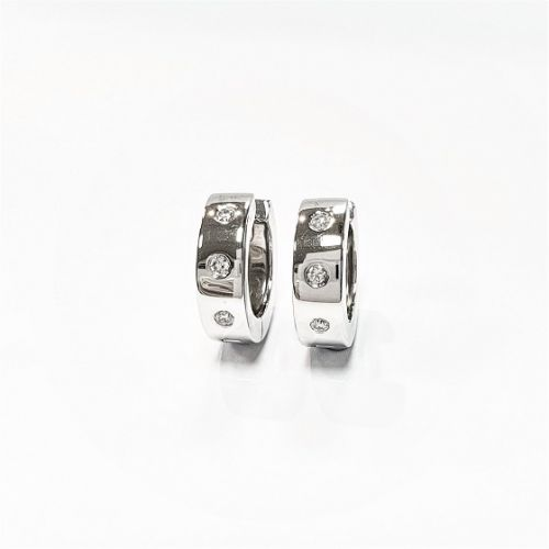 Cuttings the Jewellers and Pawnbrokers diamond silver hoops luxury pair earrings