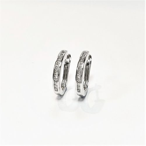 Cuttings Jewellers and Pawnbrokers, womens silver luxury hoop earrings with diamond details