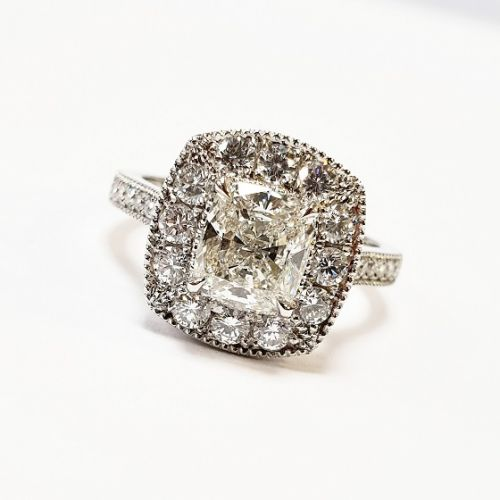 Cuttings Jewellers and Pawnbrokers, womens luxury silver engagement ring with diamond band and diamond square