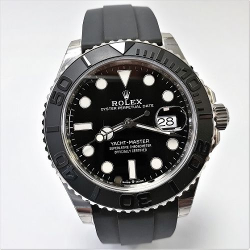 Cuttings Jewellers and Pawnbrokers, black strap mens Rolex watch with silver and black face, luxury