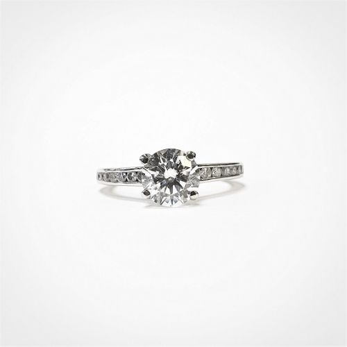 Cuttings Jewellers and Pawnbrokers, womens luxury silver engagement ring with diamond stud band and diamond stone