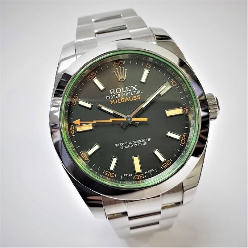 Cuttings Jewellers and Pawnbrokers, womens luxury silver Rolex watch with black face and green details