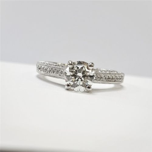 Cuttings Jewellers and Pawnbrokers, womens luxury silver engagement ring with diamond studded band and large diamond stone