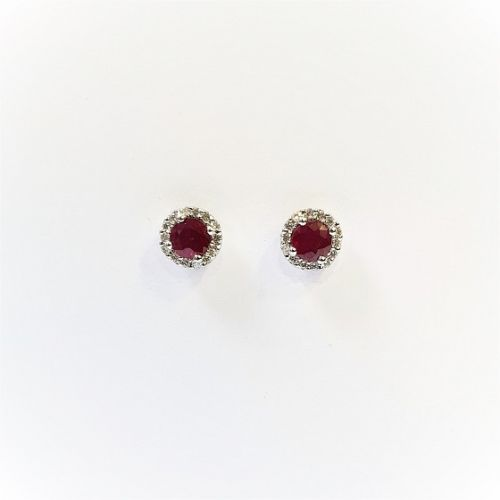 Cuttings Jewellers and Pawnbrokers, womens luxury silver circle earrings with diamond and ruby