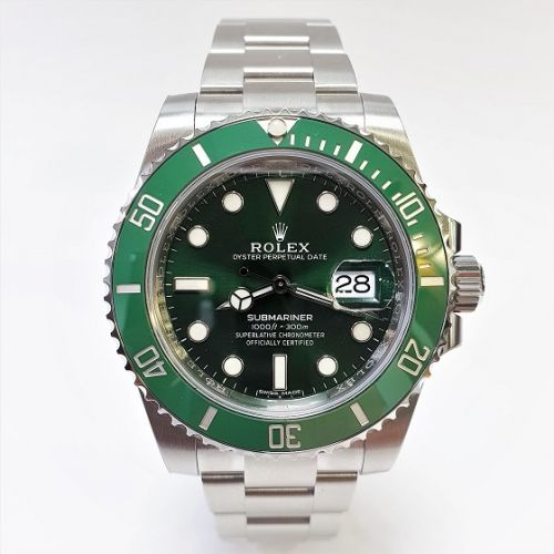 Cuttings Jewellers and Pawnbrokers, mens silver luxury Rolex watch with black face and green rim