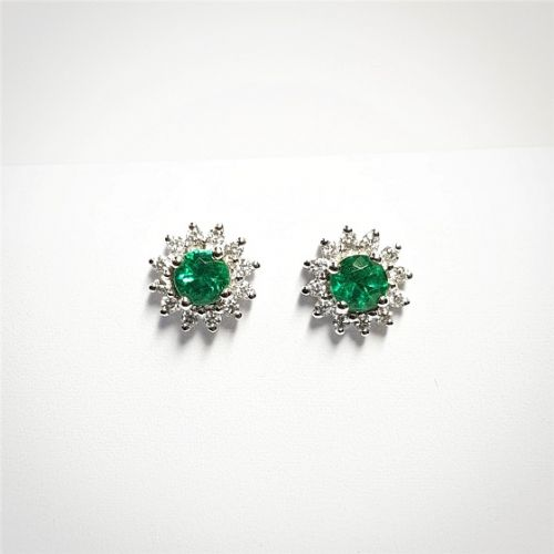 Cuttings Jewellers and Pawnbrokers, womens luxury silver earrings with diamonds and green emerald stone