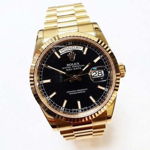 Cuttings Jewellers and Pawnbrokers, womens luxury gold Rolex watch with black face