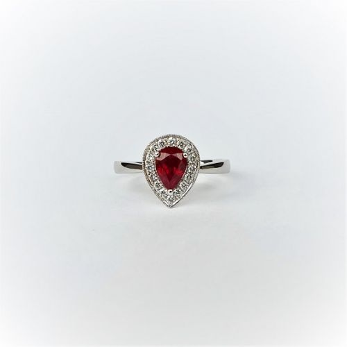 Cuttings Jewellers and Pawnbrokers, womens luxury silver droplet ring with diamond setting and ruby stone centre