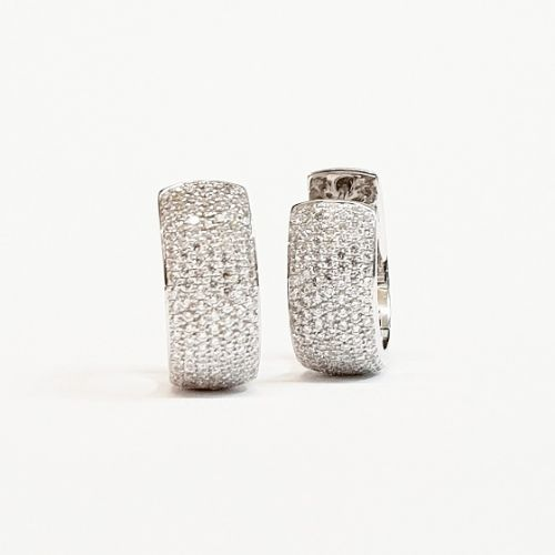 Cuttings Jewellers and Pawnbrokers, womens luxury chunky silver hoop earrings with multiple silver diamond studs